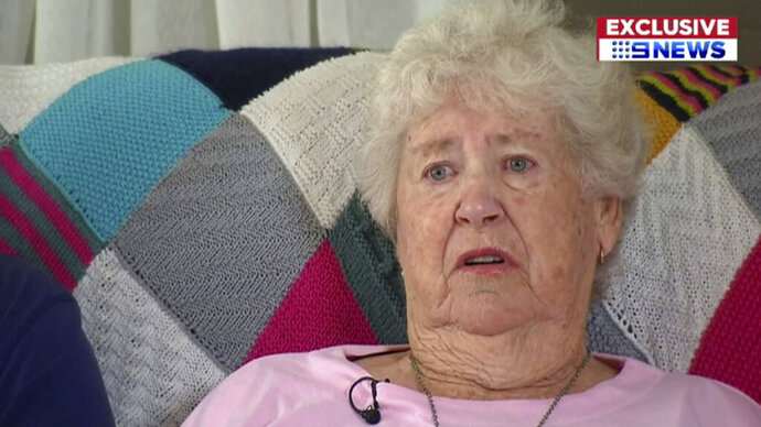 In this image made from a video, a woman who Australia's Nine Network television says is a grandmother of Brenton Harrison Tarrant, the Australian man accused of carrying out the mass shootings at two New Zealand mosques, is interviewed in Grafton, New South Wales, Australia Sunday, March 17, 2019. The woman, identified as Marie Fitzgerald, says,