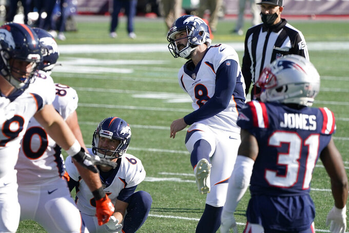 Denver Broncos place kicker Brandon McManus (8) follows through on one of his six field goals against the New England Patriots in the second half of an NFL football game, Sunday, Oct. 18, 2020, in Foxborough, Mass. (AP Photo/Steven Senne)