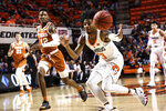 Oklahoma State's Michael Weathers loses a pass during the first half of the team's NCAA college basketball game against Texas on Tuesday, Jan. 8, 2019, in Stillwater, Okla. (Evan Brown/Tulsa World via AP)