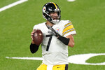 Pittsburgh Steelers quarterback Ben Roethlisberger (7) looks to pass against the New York Giants during the first quarter of an NFL football game Monday, Sept. 14, 2020, in East Rutherford, N.J. (AP Photo/Frank Franklin II)