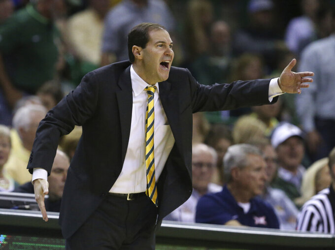 Baylor head coach Scott Drew argues for a call against TCU in the second half of an NCAA college basketball game, Saturday, Feb. 2, 2019, in Waco, Texas. (Rod Aydelotte/Waco Tribune-Herald via AP)