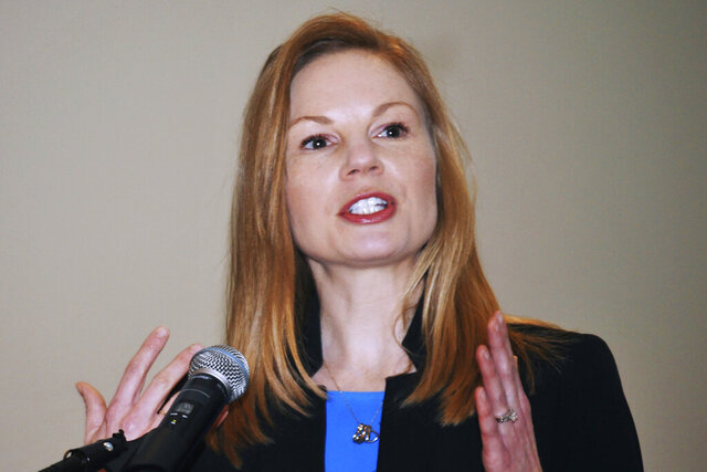 FILE - In this Jan. 14, 2019 file photo, Democratic state Auditor Nicole Galloway speaks in Jefferson City, Mo. Missouri voters are set to decide whether to expand Medicaid health care coverage to thousands more low-income adults. A proposal to amend the state Constitution to expand eligibility for Medicaid is on Tuesday, Aug. 4, 2020s' ballot. Galloway's office estimated that expanding Medicaid could cost the state at least $200 million or save as much as $1 billion annually by 2026. Republican opponents cite the potential costs as a reason to oppose the ballot initiative. (Julie Smith/The Jefferson City News-Tribune via AP, File)