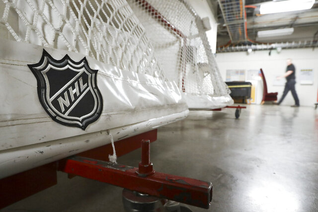 FILE - In this March 12, 2020, file photo, goals used by the NHL hockey club Nashville Predators are stored in a hallway in Bridgestone Arena in Nashville, Tenn. The National Hockey League and players reached a tentative deal Friday, Dec. 18, 2020, to hold a 56-game season in 2021, pending the approval of each side's executive board and Canadian health officials. (AP Photo/Mark Humphrey, File)