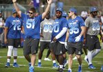 NFC Atlanta Falcons center Alex Mack (51) gestures during NFL football Pro Bowl practice in Orlando, Fla., Wednesday, Jan. 23, 2019. (Stephen M. Dowell/Orlando Sentinel via AP)/Orlando Sentinel via AP)
