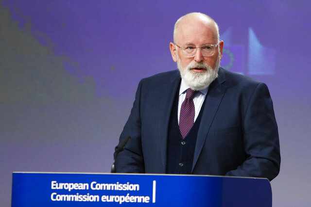 European Commissioners for European Green Deal Frans Timmermans speaks during a joint video press conference on Green and Just recovery at the EU headquarters in Brussels, Thursday, May 28, 2020. (Aris Oikonomou/Pool Photo via AP)