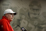 Kansas City Chiefs head coach Andy Reid addresses the media at a news conference Wednesday, Jan. 22, 2020 at Arrowhead Stadium in Kansas City, Mo. The Chiefs will face the San Francisco 49ers in Super Bowl 54. (AP Photo/Charlie Riedel)