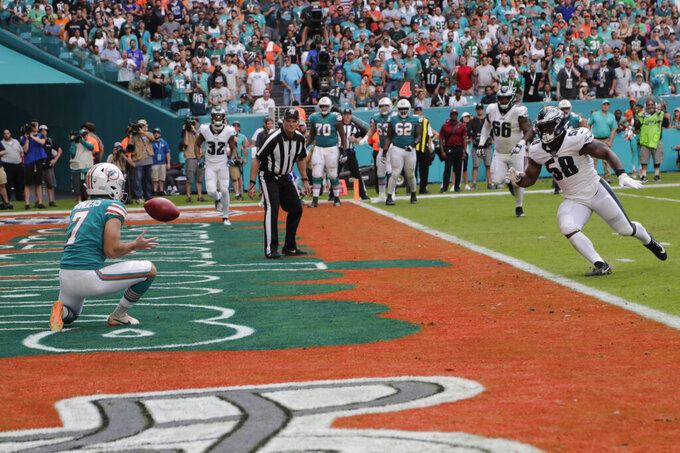 Miami Dolphins kicker Jason Sanders (7) catches a touchdown pass, during the first half at an NFL football game against the Philadelphia Eagles, Sunday, Dec. 1, 2019, in Miami Gardens, Fla. (AP Photo/Lynne Sladky)