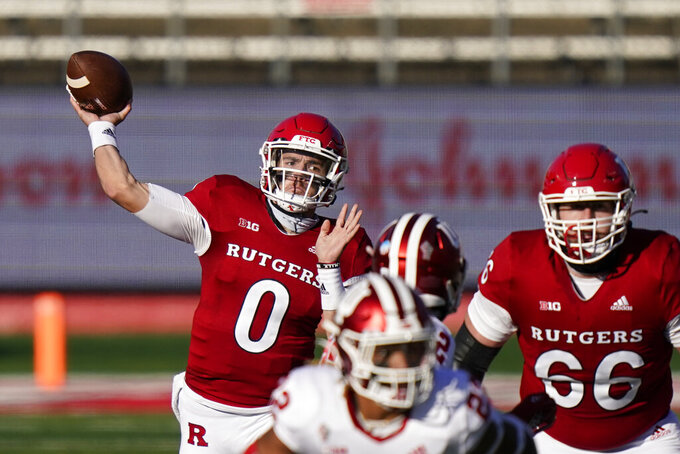 Rutgers quarterback Noah Vedral (0) throws a pass in the first quarter of an NCAA college football game against Indiana, Saturday, Oct. 31, 2020, in Piscataway, N.J. (AP Photo/Corey Sipkin)