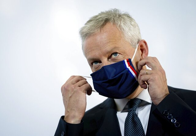 Bruno Le Maire, France's minister for economic and financial affairs, attends the Informal Meeting of Economics and Finance Ministers in Berlin, Germany, Friday, Sept. 11, 2020. (Kay Nietfeld/DPA via AP, Pool)