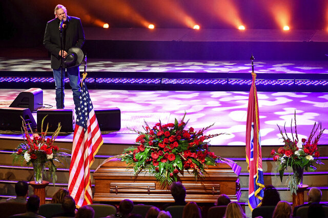 Trace Adkins performs during the funeral service for Charlie Daniels at World Outreach Church in Murfreesboro, Tenn., Friday, July 10, 2020. The Country Music Hall of Famer died Monday due to a hemorrhagic stroke. (Larry McCormack/The Tennessean via AP)