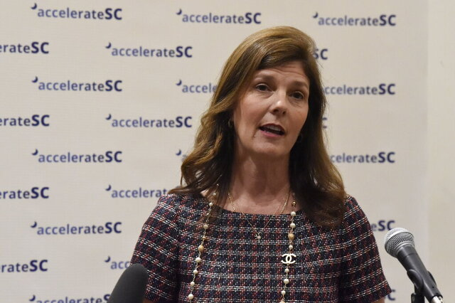 South Carolina Lt. Gov. Pamela Evette speaks with reporters after the first meeting of accelerateSC, an advisory group about reopening the state economy, on Thursday, April 23, 2020, in Columbia, S.C. (AP Photo/Meg Kinnard)