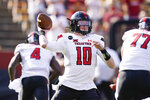 Texas Tech quarterback Alan Bowman throws a pass during the first half of an NCAA college football game against Iowa State, Saturday, Oct. 10, 2020, in Ames, Iowa. (AP Photo/Charlie Neibergall)
