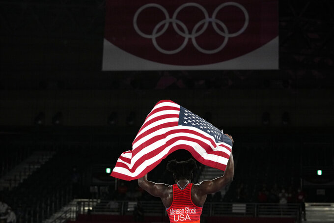 United States Tamyra Marianna Stock Mensah celebrates defeating Nigeria's Blessing Oborududu and winning the women's 68kg Freestyle wrestling final match at the 2020 Summer Olympics, Tuesday, Aug. 3, 2021, in Chiba, Japan. (AP Photo/Aaron Favila)
