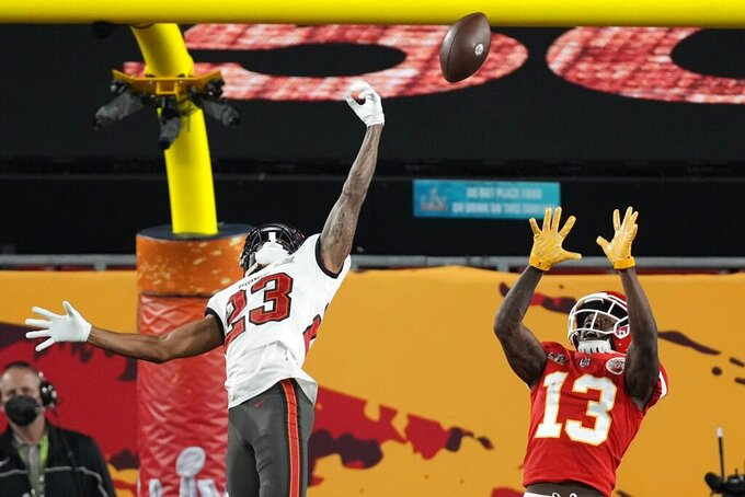 Tampa Bay Buccaneers cornerback Sean Murphy-Bunting breaks up a pass intended for Kansas City Chiefs wide receiver Byron Pringle during the first half of the NFL Super Bowl 55 football game Sunday, Feb. 7, 2021, in Tampa, Fla. (AP Photo/David J. Phillip)