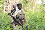 In this photo of Saturday March 16 2019, Wildlife ranger, Charles Matthew patrol the Bire Kpatous game reserve along the Congolese border. South Sudan is trying to rebuild its vast national parks and game reserves following a five-year civil war that killed nearly 400,000 people. The conflict stripped the country of much wildlife but biodiversity remains rich with more than 300 mammal species, including 11 primates, but poaching is a growing threat.(AP Photo Sam Mednick)