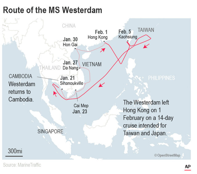 Thailand had said Tuesday that it would not allow the MS Westerdam to dock at a Thai port after it had already been turned away by the Philippines, Taiwan and Japan.;