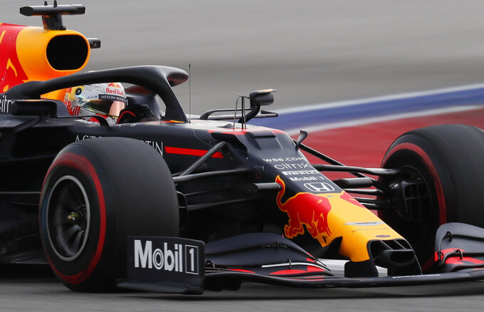 Red Bull driver Max Verstappen of the Netherlands steers his car during the qualifying session for the upcoming Russian Formula One Grand Prix, at the Sochi Autodrom circuit, in Sochi, Russia, Saturday, Sept. 26, 2020. The Russian Formula One Grand Prix will take place on Sunday. (Yuri Kochetkov, Pool Photo via AP)