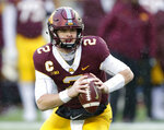 Minnesota quarterback Tanner Morgan scrambles against Purdue in the second quarter of an NCAA college football game Saturday, Nov. 10, 2018, in Minneapolis. (AP Photo/Andy Clayton-King)