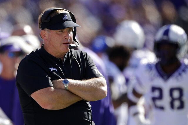 FILE - In this Oct. 19, 2019, file photo, TCU coach Gary Patterson watches during the first half of the team's NCAA college football game against Kansas State in Manhattan, Kan. TCU's chancellor said coach Gary Patterson apologized Monday, Aug. 3, 2020 for repeating a racial slur when telling a player to stop using the slur in team meetings. Linebacker Dylan Jordan accused Patterson on Twitter of using the slur during a confrontation at practice (AP Photo/Charlie Riedel, File)