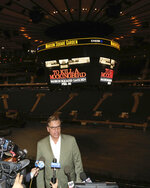 Aaron Sorkin participates in a press conference to announce an upcoming performance of