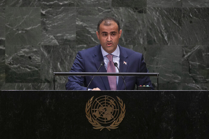 Yemeni Foreign Minister Mohammed Abdullah al-Hadrami addresses the 74th session of the United Nations General Assembly at the U.N. headquarters Saturday, Sept. 28, 2019. (AP Photo/Jeenah Moon)