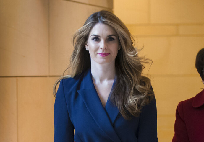 FILE - In this Feb. 27, 2018 photo, then-White House Communications Director Hope Hicks arrives to meet behind closed doors with the House Intelligence Committee, at the Capitol in Washington. The House Judiciary Committee will interview Hicks behind closed doors on Wednesday, June 19, 2019, the first time lawmakers will hear from a person linked to the president's inner circle since House Democrats launched investigations to review special counsel Robert Mueller's report. (AP Photo/J. Scott Applewhite, File)