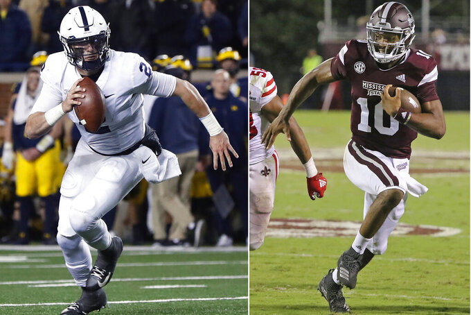 FILE - At left, in a Nov. 3, 2018, file photo, then-Penn State quarterback Tommy Stevens (2) runs against Michigan in the second half of an NCAA college football game in Ann Arbor, Mich. At right, in a Sept. 15, 2018, file photo, Mississippi State quarterback Keytaon Thompson (10) sprints to the end zone for a touchdown against Louisiana-Lafayette during the second half of their NCAA college football game in Starkville, Miss. The main story of Mississippi State's preseason camp isn't hard to find. It's a two-man quarterback competition between last year's backup Keytaon Thompson and Penn State transfer Tommy Stevens. The winner will be expected to improve the Bulldogs' passing offense, which was inconsistent on good days and downright awful on the bad ones last season. (AP Photo/File)