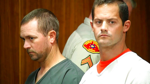 This photo provided by KBAK-TV shows former Kern County sheriff's deputies Derrick Penney, left, and Logan August in court in Bakersfield, Calif., on Sept. 11, 2018. The pair have entered pleas and will serve jail time for conspiring to sell marijuana that had been seized by law enforcement, prosecutors said Friday, Aug. 7, 2020. (KBAK-TV via AP)