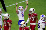 Buffalo Bills kicker Tyler Bass (2) signlas his field goal is good during the first half of an NFL football game against the Arizona Cardinals, Sunday, Nov. 15, 2020, in Glendale, Ariz. (AP Photo/Ross D. Franklin)