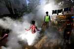 A boy plays in a fumigation cloud sprayed by a municipal worker at a residential area in Ahmedabad, India, Thursday, Dec. 3, 2020. (AP Photo/Ajit Solanki)