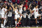 Texas Tech players cheers after a basket against Creighton during the second half of an NCAA college basketball game Friday, Nov. 29, 2019, in Las Vegas. (AP Photo/David Becker)