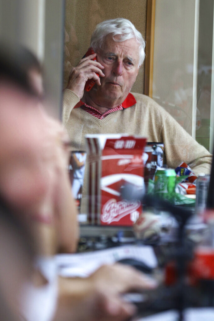 Former Indiana men's basketball coach Bob Knight sits in the press box at Bart Kaufman Field during Indiana's baseball game against Penn State in Bloomington, Ind., Saturday, April 6, 2019. Knight made his first public appearance on campus since he was fired almost 19 years ago. The Big Ten Network was broadcasting the game when Knight made the impromptu golf cart ride to the field. (Alexis Oser/The Herald-Times via AP)