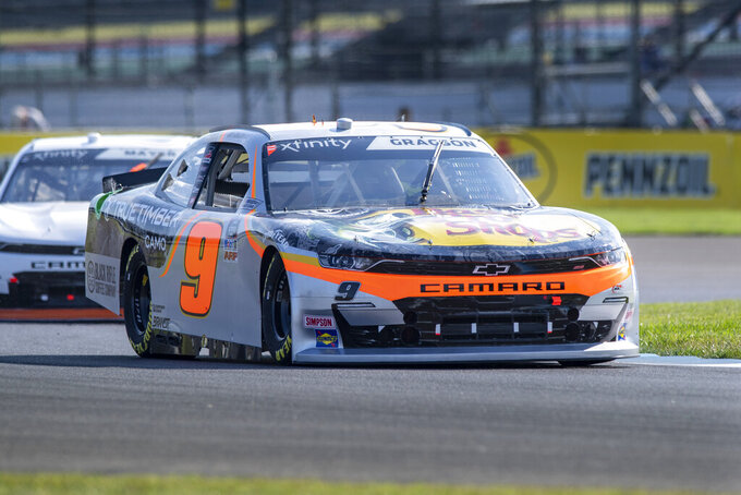 Noah Gragson (9) during practice for the NASCAR Xfinity Series auto race at Indianapolis Motor Speedway, Friday, Aug. 13, 2021, in Indianapolis. (AP Photo/Doug McSchooler)