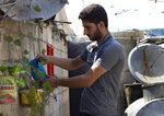 """In this Sunday September 1, 2019 photo, Abdel Hamid al-Yousef waters his plants, at a displaced settlement near the Turkish border called """"Mokhayyam al-Karamah,"""" Arabic for """"Dignity Camp,"""" near the town of Atmeh, in northern Syria. Al-Yousef lost his baby twins, his wife and 16 other relatives in the poison gas attack that hit Syria's Khan Sheikhoun in April 2017. Determined to continue with his life, he remarried, and has an 11-month-old daughter. But tragedy keeps chasing the 31-year-old former shopkeeper as he recently fled a government assault on Idlib and the nonstop bombardment of Khan Sheikhoun. (AP Photo)"""
