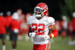 FILE - In this Aug. 2, 2019, file photo, Kansas City Chiefs cornerback Juan Thornhill runs during NFL football training camp, in St. Joseph, Mo. There's a good chance Thornhill will start at safety for the Chiefs in Week 1. That bucks a trend not only for coach Andy Reid but also defensive coordinator Steve Spagnuolo when it comes to rookies. (AP Photo/Charlie Riedel, File)