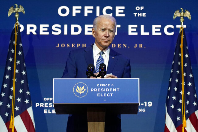 "FILE - In this Nov. 9, 2020, file photo President-elect Joe Biden speaks The Queen theater in Wilmington, Del. Biden says he wants to ""restore the soul of America."" But first the president-elect will need to fix a broken Congress. (AP Photo/Carolyn Kaster, File)"
