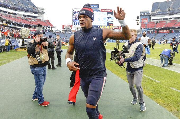 Houston Texans quarterback Deshaun Watson leaves the field after an NFL football game against the Tennessee Titans Sunday, Dec. 15, 2019, in Nashville, Tenn. The Texans won 24-21. (AP Photo/Mark Zaleski)