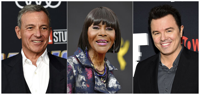 This combination photo shows Walt Disney Co. chief executive Bob Iger, from left, actress Cicely Tyson and actor/producer Seth MacFarlane who will be inducted into the Television Academy's Hall of Fame. (AP Photo)