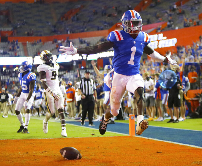 Florida receiver Kadarius Toney (1) celebrates a touchdown against Missouri during an NCAA college football game in Gainesville, Fla., Saturday, Oct. 31, 2020. (Brad McClenny/The Gainesville Sun via AP)
