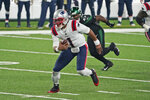 New England Patriots quarterback Cam Newton runs the ball during the second half of an NFL football game against the New York Jets, Monday, Nov. 9, 2020, in East Rutherford, N.J. (AP Photo/Corey Sipkin)