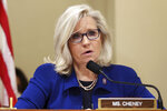 FILE - In this July 27, 2021, file photo Rep. Liz Cheney, R-Wy., delivers opening remarks at the first hearing of the House select committee hearing on the Jan. 6 attack on Capitol Hill in Washington. Former President George W. Bush will headline a fundraiser for top Donald Trump critic Cheney next month, turning her reelection race into a proxy war of sorts between the ex-presidents. Bush will be headlining the event in Dallas in October for the Wyoming congresswoman's reelection campaign. (Chip Somodevilla/Pool via AP, File)