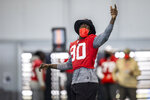 Tampa Bay Buccaneers outside linebacker Jason Pierre-Paul during NFL football practice, Tuesday, Feb. 2, 2021 in Tampa, Fla. The Buccaneers will face the Kansas City Chiefs in Super Bowl 55. (Tori Richman/Tampa Bay Buccaneers via AP)