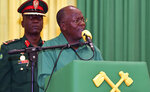 Tanzania ruling party CCM Presidential Candidate President John Magufuli addresses Dodoma region elders at the climax of his election campaign on Tuesday. Tuesday, Oct. 27, 2020.  A major opposition party in Tanzania is accusing police of shooting dead at least nine citizens amid unrest over alleged fraud on the eve of the country's presidential election.(AP Photo)