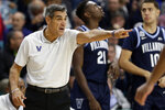 Villanova head coach Jay Wright directs his team during the first half of an NCAA college basketball game against Middle Tennessee State at the Myrtle Beach Invitational in Conway, S.C., Thursday, Nov. 21, 2019. (AP Photo/Gerry Broome)