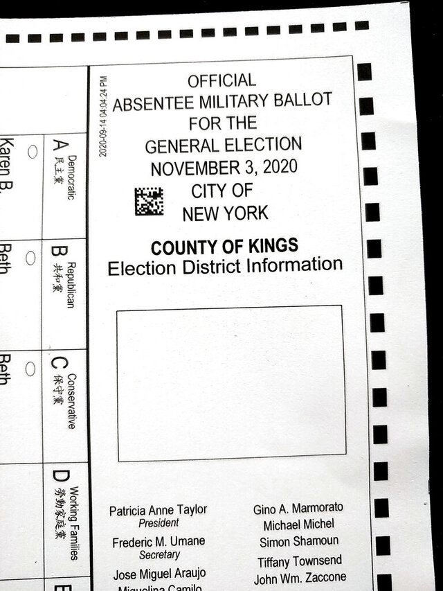 This Tuesday, Sept. 29, 2020 photo, shows a section of an absentee ballot marked
