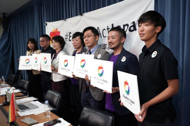 From left, Yumiko Murakami, head of OECD Tokyo, Gon Matsunaka, head of Pride House Tokyo Legacy, Kanae Doi, Japan director of Human Rights Watch, Yuri Igarashi, co-representative director of the Japan Alliance for LGBT Legislation, Yuichi Kamiya, secretary-general of the Japan Alliance for LGBT Legislation,