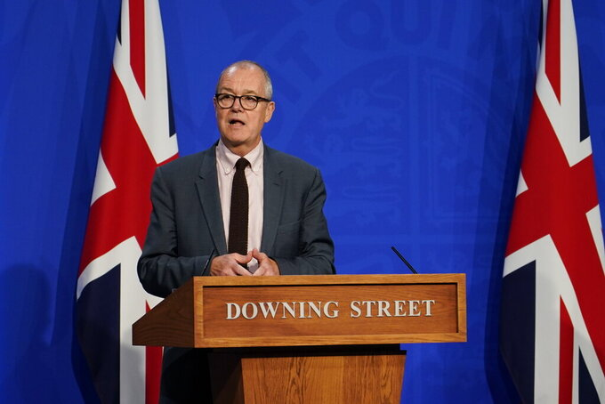 FILE - In this Monday July 19, 2021 file photo, Chief Scientific Advisor Patrick Vallance attends a media briefing on coronavirus in Downing Street, London. On Friday, July 23, 2021, The Associated Press reported on stories circulating online incorrectly asserting 60% of people being admitted to the hospital for COVID-19 in England have had two doses of coronavirus vaccine. But the opposite is true. Sixty percent of people who are currently hospitalized with COVID-19 in the U.K. are unvaccinated. Vallance gave the wrong statistic at the news conference, but issued a correction later that day. (AP Photo/Alberto Pezzali)