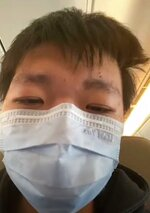 Wang Jingyu is seen in a selfie sent from inside of Emirates flight from Dubai to Istanbul, Thursday, May 27, 2021. Wang, a permanent resident of the United States wanted by China, was freed by Dubai on Thursday, May 27, 2021, after spending weeks in detention, and boarded a flight to Turkey. Beijing had sought Wang over his online comments about a deadly confrontation between Chinese and Indian forces in 2020. (Wang Jingyu via AP)