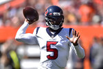 Houston Texans quarterback Tyrod Taylor throws during the first half of an NFL football game against the Cleveland Browns, Sunday, Sept. 19, 2021, in Cleveland. (AP Photo/David Richard)