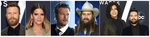 """This combination photo shows Country Music Association Awards nominees for Single of the Year, from left, """"Burning Man"""" by Dierks Bentley featuring Brothers Osborne, """"GIRL"""" by Maren Morris; """"God's Country,"""" by Blake Shelton; """"Millionaire"""" by Chris Stapleton; and """"Speechless"""" by Dan + Shay. (AP Photo)"""